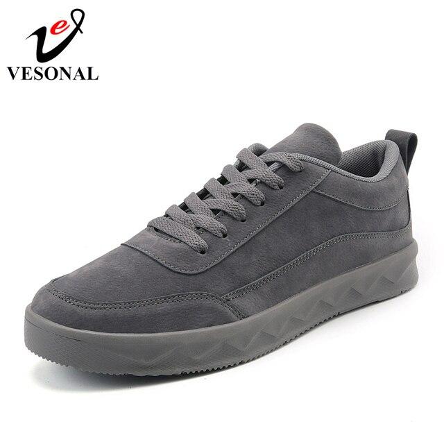 14d54a6a21 VESONAL Marca de Moda Tênis Masculinos Para Homens Sapatos de pele de Porco  Macio Adulto Moda