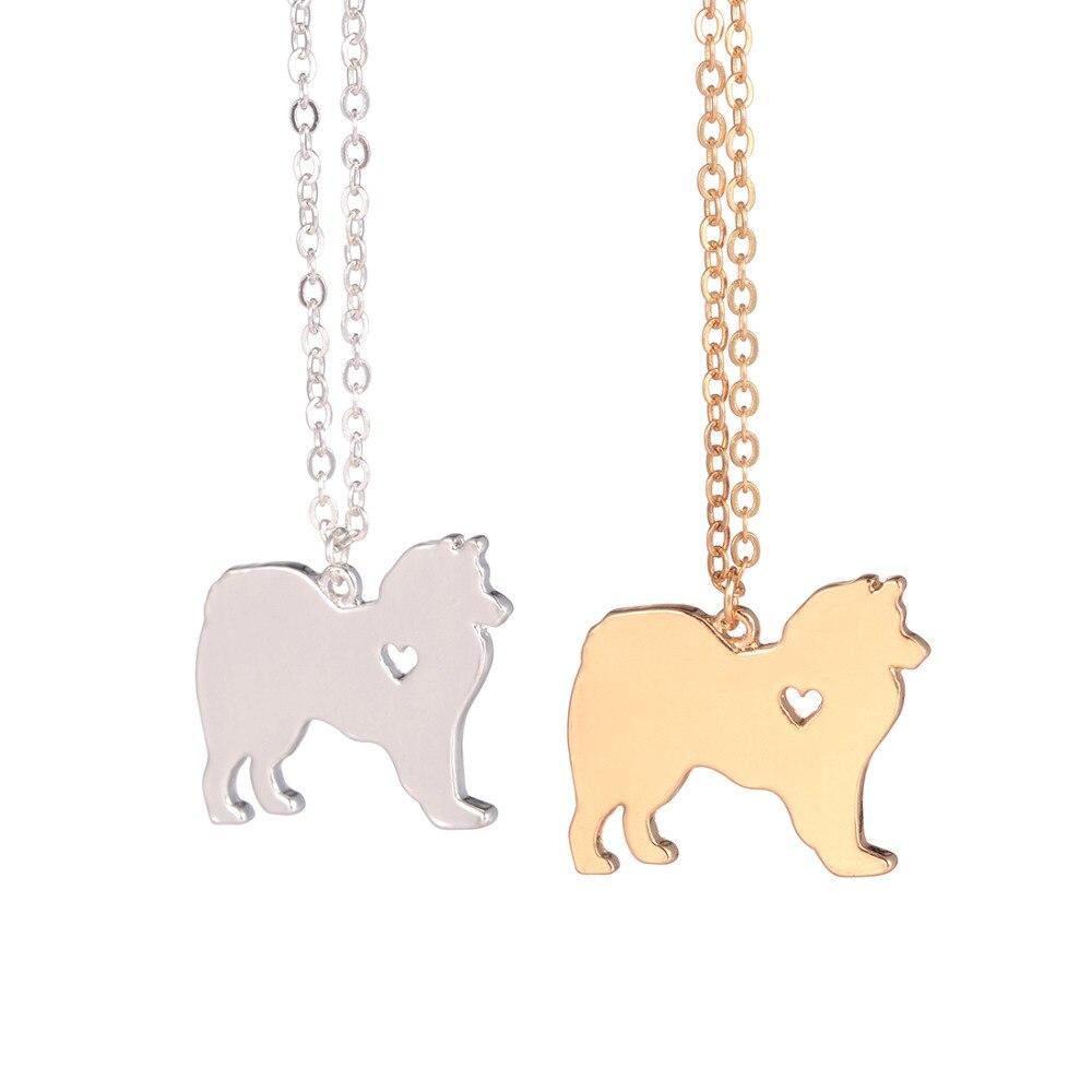 Zlaté stříbrné 1ks Americký Eskimo náhrdelník pro psy Americký Eskimo náhrdelník na zakázku Psí šperky Stříbrný přívěsek Pet Šperky Husky love