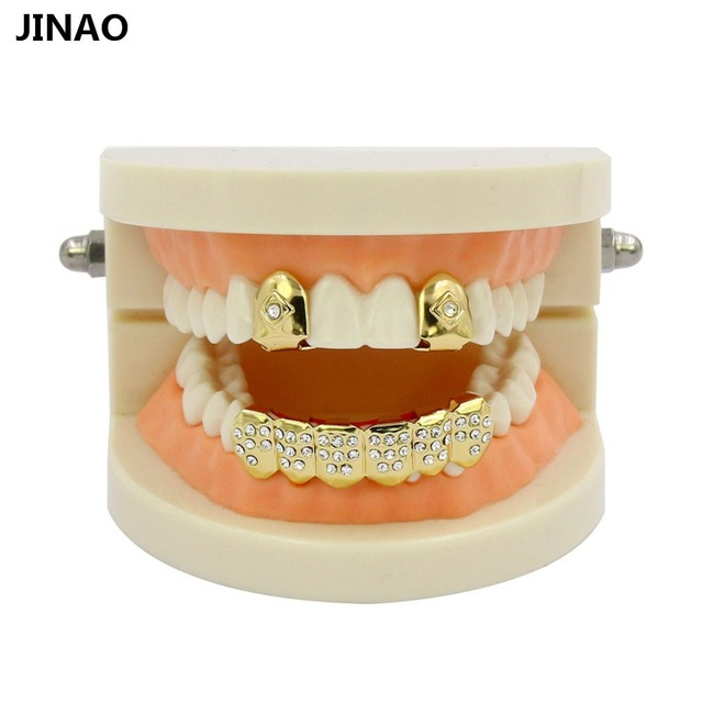 JINAO Men Women Hip Hop Gold Color Plated Custom Mouth Grillz Set CZ  Rhinestone 2pcs Single Top   6 teeth Bottom set gold grills 1022463132bc