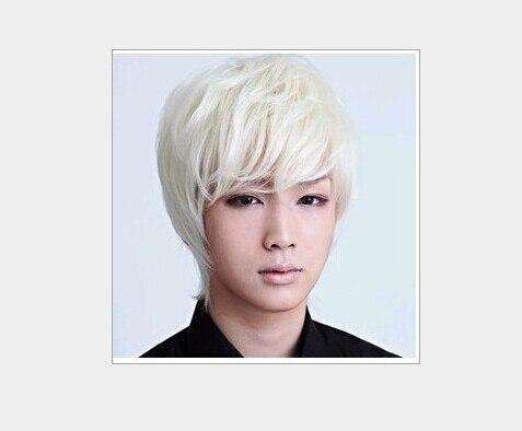 Korean Style Fashion Handsome Short Men S Wigs White Hair White