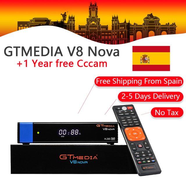GT Media V8 Nova DVB-S2 Freesat Satellite Receiver H.265 built-in WIFI RCA+1 Year Europe Spain CCcam TV Box PK V8 Super Receptor