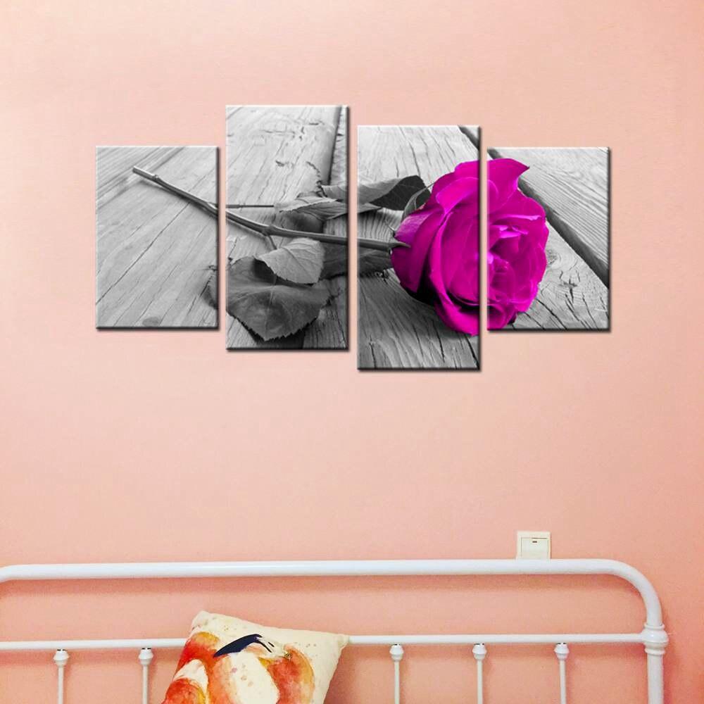 FLORAL CANVAS ART PICTURE TEAL GREY ORANGE ROSE ORCHID FLOWER 4 WALL PANELS Kunst