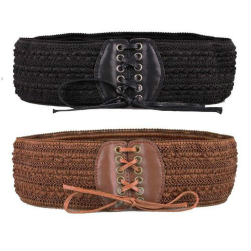 Fashion Women Retro Stretch Buckle Waist Belt Bow Wide Elastic Corset Cinch Waistband