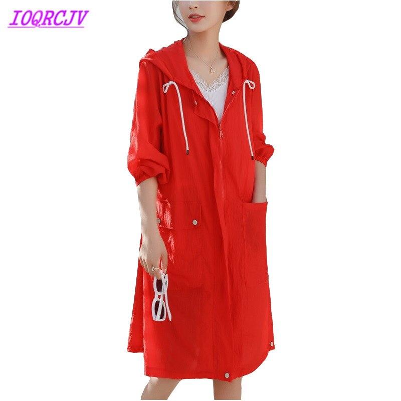 Trench-coat mince pour les femmes 2018 été vêtements anti-soleil mode à capuche grande taille coupe-vent femme plage couche de finition IOQRCJVH389