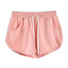 Jvzkass cotton sports shorts female summer 2019 new solid color loose high waist wide leg outside sleep Z292