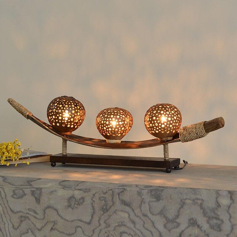 Южный скорлупы кокосового ореха украшения дерева настольная лампа творческий Винтаж Главная Deco Natural спальня тумбочка свет E11 лампы