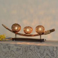 Southest coconut shell decoration wood table lamp creative vintage home deco natural bedroom bedside table light E11 bulb
