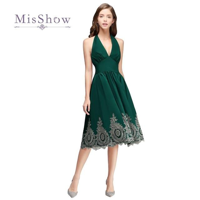 d2a368cb980 2018 Vintage Pas Cher Courtes Robes De Soirée Or Appliques Halter Courte  Petite Robe Noire A