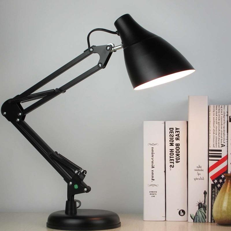 Işıklar ve Aydınlatma'ten Sıra Lambaları'de Antika Led masa lambası Adjustal Demir Işık Yaratıcı Ofis Çalışma Okuma lamba standı Öğrenci Çocuklar tafellamp Siyah/Beyaz/Kırmızı E27 title=