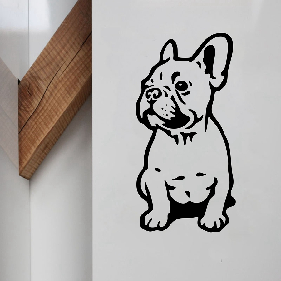 French Bulldog Vinyl Wall Sticker Lovely Dog Wall Decals För Hem Lilving Room / Car Decoration