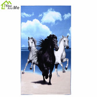100 180cm Microfiber Bath Towel Animal Horse Pattern Women Beach Towel For Home Travelling