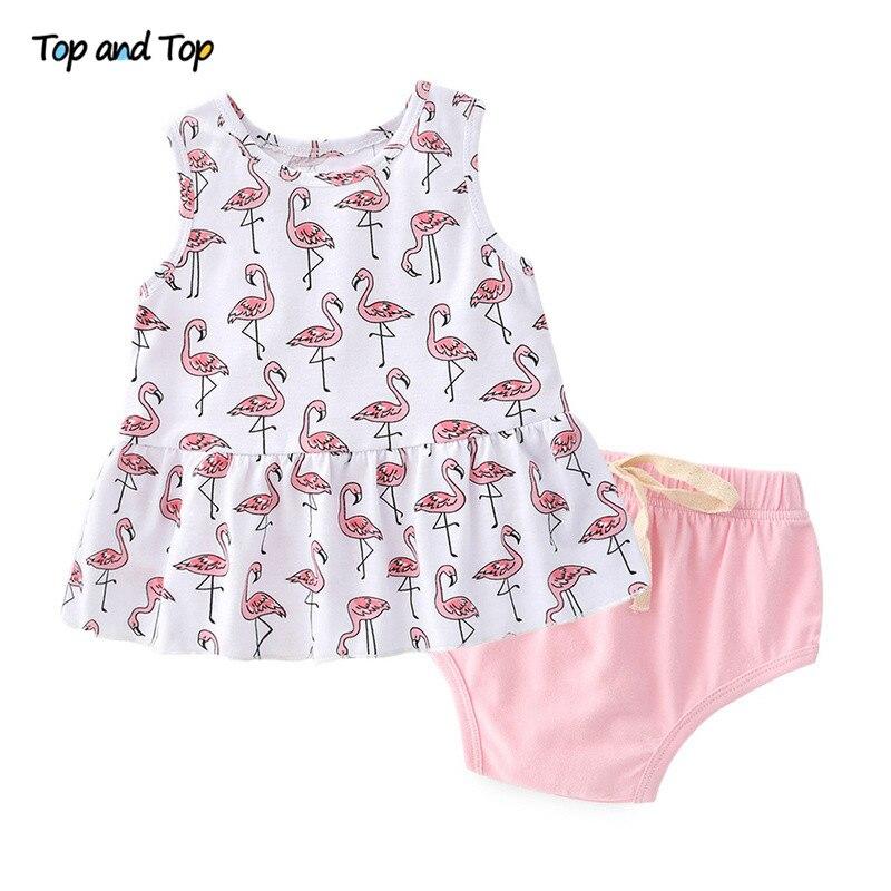 Newborn Girl T-Shirt Underwear Cartoon Top And Sleeveless Dress Summer Shorts Printed-Pattern
