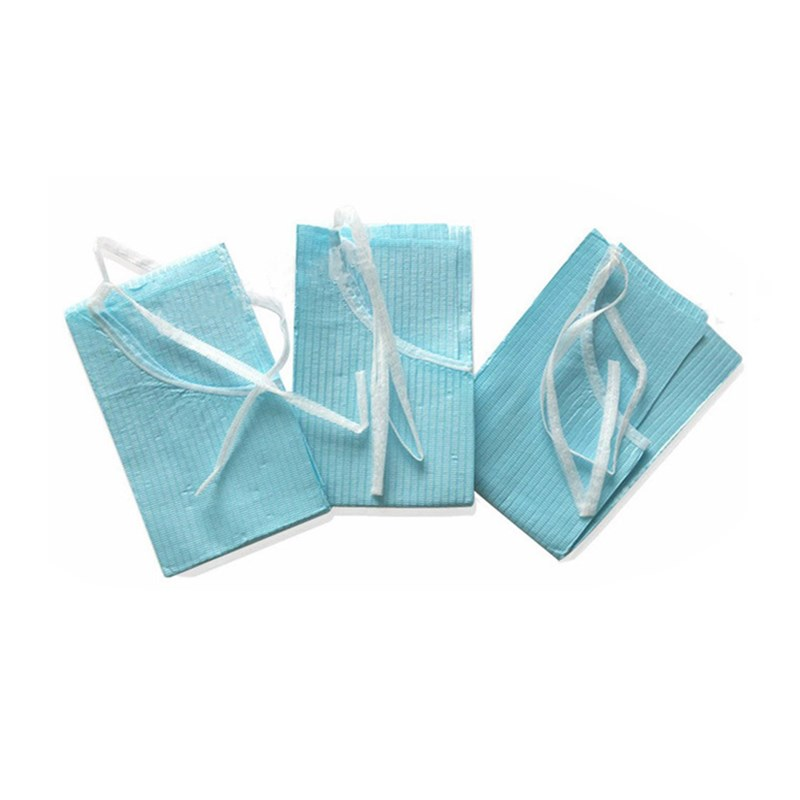 60 Pcs/Bag 38x45 Cm Blue Medical Paper Scarf Bib Dentist Oral Hygiene Disposable Water-resistant Lacing Scarf Dental Material
