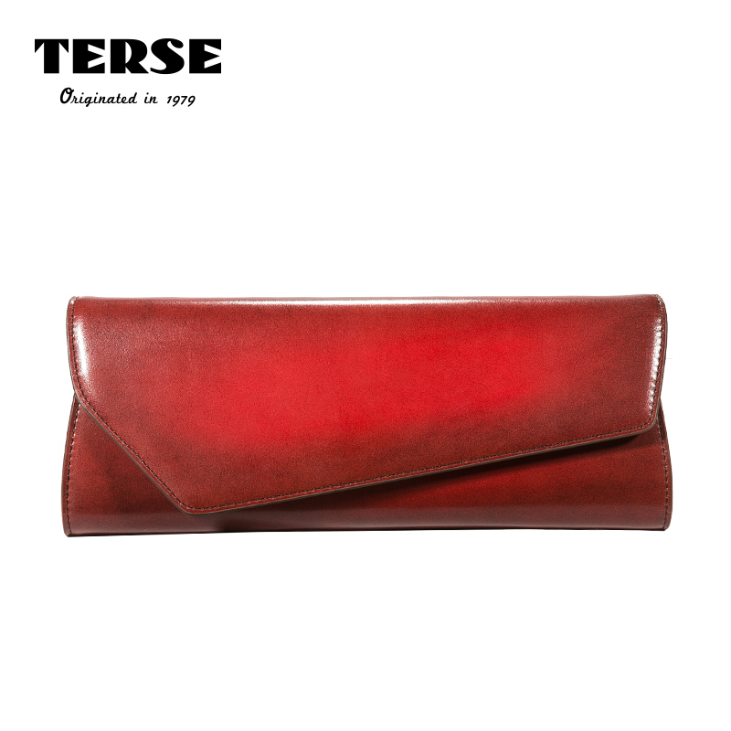 TERSE_2017 New Women's Purse Italian Genuine Leather Portfolio Envelope Long Wallet Evening Clutch Bag Custom Red Purple Color