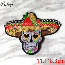 Pulaqi Straw Hat Skull Patch DIY Embroidery Iron On Punk Patches Rock Stripe For Vikings Clothes Sticker T-shirt Applique