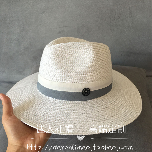 2017spring and summer leisure joker double color ribbon double black M standard ms sun hat hat Sir White straw hat