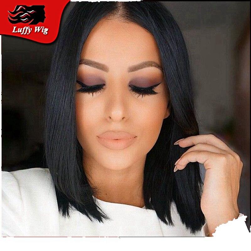 Layered Human Hair Short Bob Wigs/Glueless Lace Front