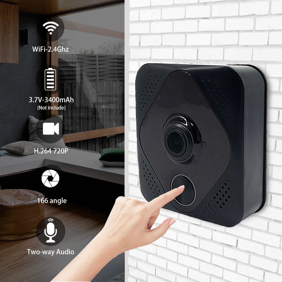 Smart Video Doorbell Wireless WiFi Two-way Talk IR Camera Night Vision Video Visual Ring LED Camera Auto Doorbell Home Security