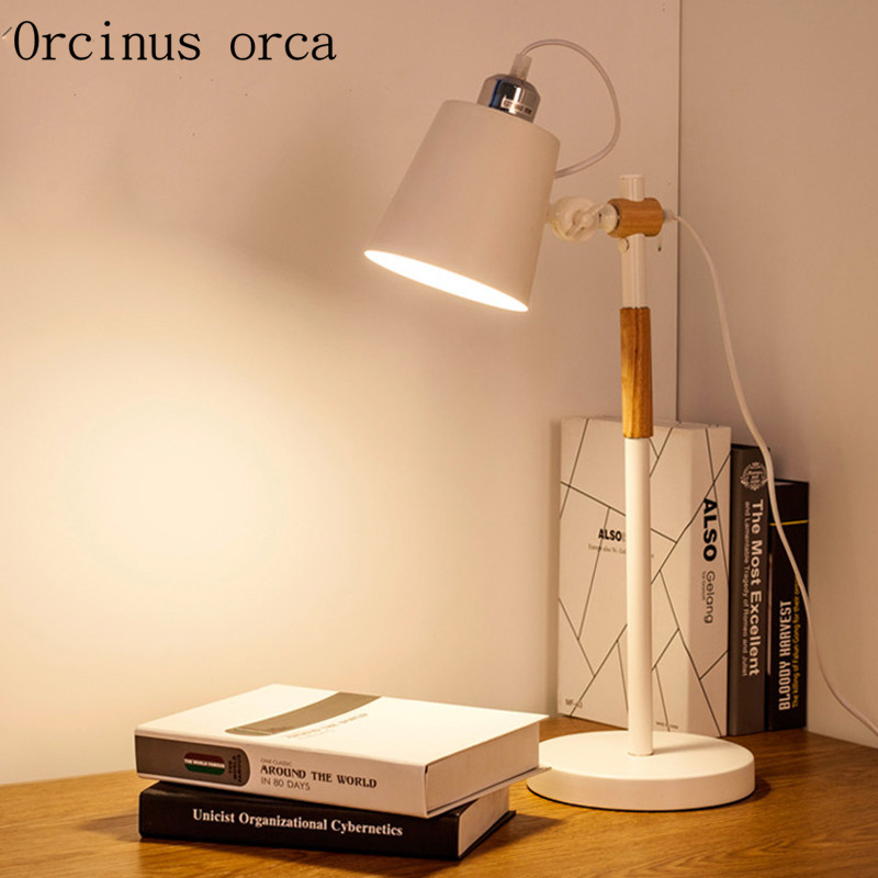 Nordic bedroom bedside table lamp warm fashion study desk lamp LED eye protection lamp Postage free брюки на молнии сбоку из комфортной ткани стрейч