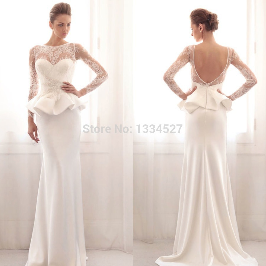 New gorgeous peplum wedding dresses long sleeve lace floor for Backless wedding dresses with sleeves