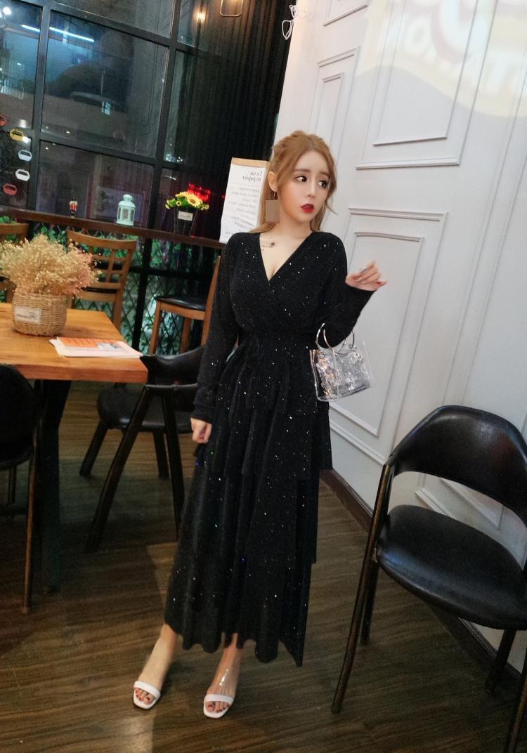 Mesh Sequins Bling Cake Dress Long Vintage Princes Lady Layers Ruffles Dress V Neck Robe Longue Vestido Largo Vestiti Lunga 4