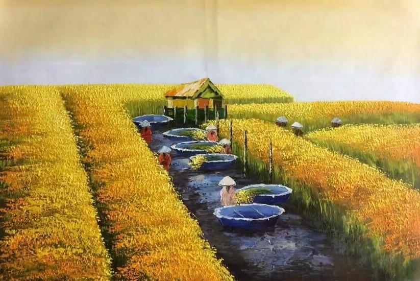 Hand Painted Modern Abstract Vietnam Harvest Scene