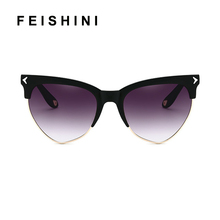 FEISHINI Brand Superstar Red Half Frame Sunglasses Women Cat eye uv400 High Quality Classic Semi-Rimless Sunglass Ladies Retro цена в Москве и Питере