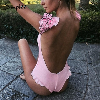 Simplee סקסי אדום לדחוף את אחת חתיכות ביקיני קיץ סגנון לפרוע שרוול חוף ללבוש playsuit נשי מזדמן banthing חליפה בגד ים