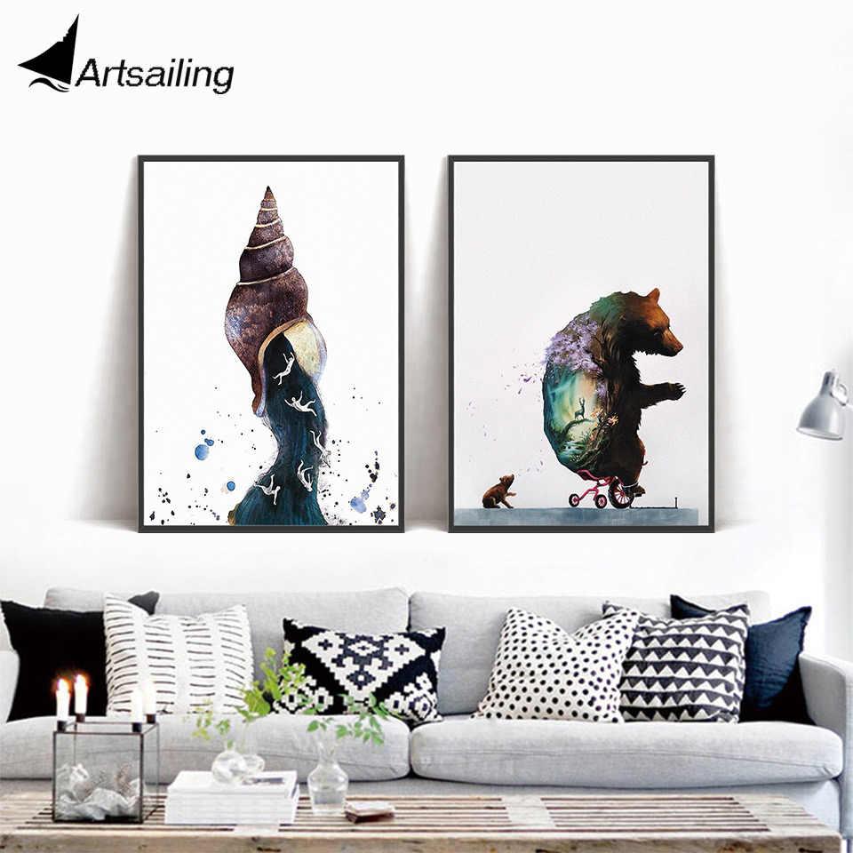 Arte de pared nórdico original oso Conch lienzo pintura cuadros de pared para sala de estar carteles escandinavo e impresiones sin marco