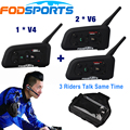 Fodsports Brand V4+2*V6 1200m BT Headset Wireless Intercom with Earhook Earphone for 3 Football Referee Talking at the Same Time