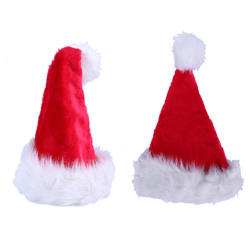 Рождество шляпу Санта красный плюшевые Шапки для дома Рождество украшения для рождественской вечеринки поставляет мягкую шляпу Санта