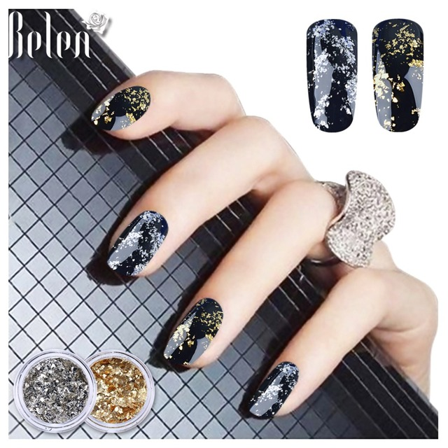 US $1.26 |Belen 1 Box Silver Gold Flakes Nail Aluminum Sequins Bling Mirror  Nail Glitters For Gel PolishPowder Paillettes DIY Nail Art -in Nail ...
