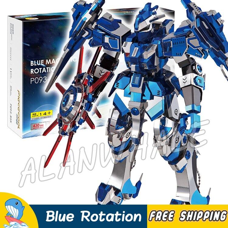3D Métal Puzzle Super Héros Bleu Magnétique Rotation Classique Métallique Gundam Robots Figurines Modèle Assembler Adolescents Jouets Puzzle