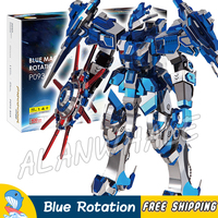 3D Metal Puzzle Super Heroes Blue Magnetic Rotation Classic Metallic Gundam Robots Figures Model Assemble Teenagers Toys Jigsaw