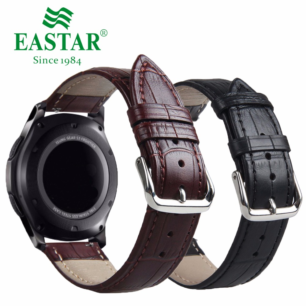 цены Genuine Leather Black Brown Strap For Samsung Gear S3 Band Frontier Strap For Gear S3 Classic Watchband 22mm Watch Bracelet