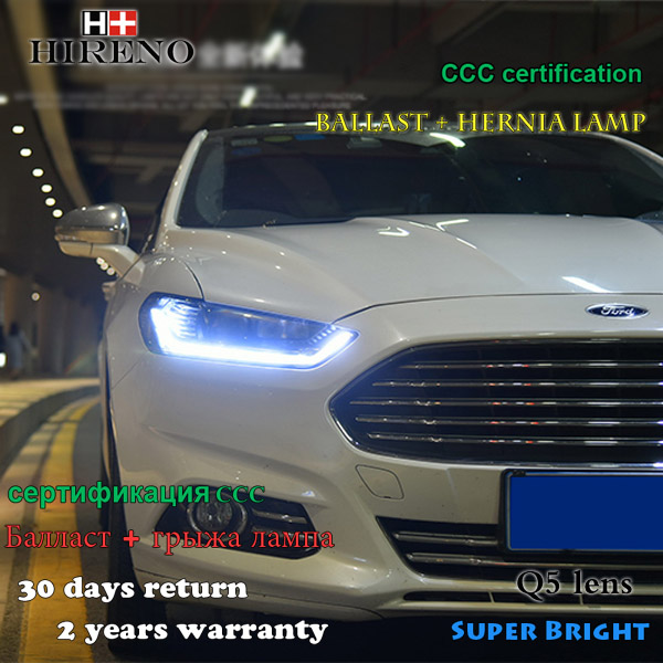 Hireno  Headlamp for 2013-2015 Ford Mondeo Headlight Assembly LED DRL Angel Lens Double Beam HID Xenon 2pcs