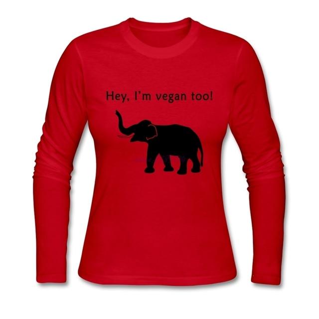 Printed  Tee Shirts Hey, I am  vegan too Ladies's hip-hop cotton Full-Sleeve Machine Washable T-Shirt