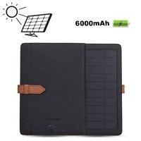 Güneş Enerjisi Şarj Android Tablet Mikro Fiş için 6000 mAh Pil Kutusu PU Deri Standı Çevirme Folyo Ekran Koruyucu Kapak