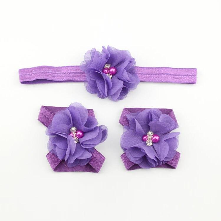 Детская повязка на голову; Детские босоножки ботинки со стразами и цветами; комплект с повязкой на голову; обувь; реквизит для фотосъемки; Детские аксессуары для волос - Цвет: purple
