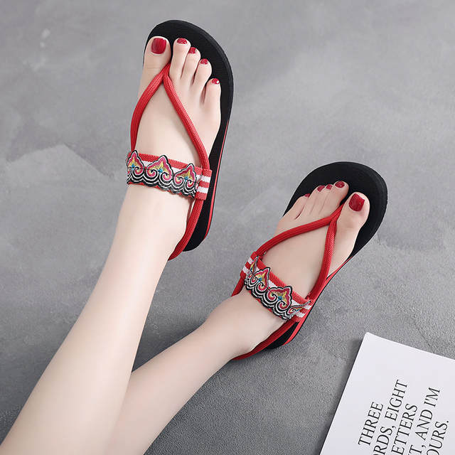 42c5c0e761f 2019 new sandals women flip-flops thick-soled summer fashion wear flat  seaside ethnic style lady beach shoes seaside wild