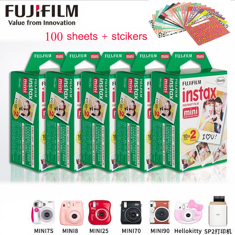 100 sheets Original Fujifilm Fuji Instax Mini Film White Sheet For Polaoird mini 7 7s 8 10 20 25 30 50s 55 70 50i SP1 lomo 5 packs fuji fujifilm instax mini instant film monochrome photo paper for mini 8 7s 7 50s 50i 90 25 dw share sp 1 cameras