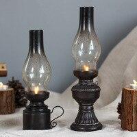 크리 에이 티브 수지 공예 향수 등유 램프 캔들 홀더 장식 빈티지 유리 커버 랜턴 촛대 홈 인테리어 선물 촛대 홈 & 가든 -