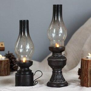 Creative Resin Crafts Nostalgic Kerosene Lamp Candle Holder Decoration Vintage Glass Cover Lantern Candlesticks Home Decor Gifts(China)