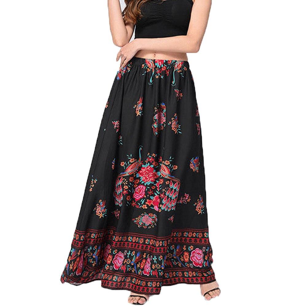 #4 DROPSHIP 2018 NEW HOT Fashion Women Boho Maxi Skirt Beach Floral Holiday Summer High Waist Long Skirt Freeship