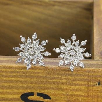 Pendientes de cristal con forma de copo de nieve para Mujer, aretes,...