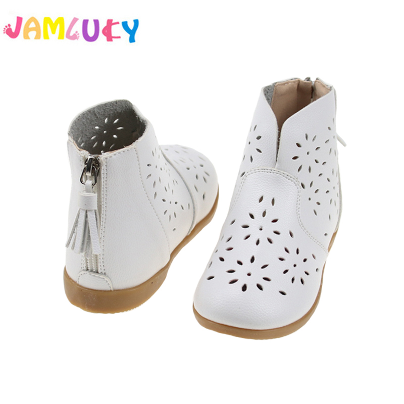 Kids Shoes For Girl Autumn Hollow Breathable Boots Girls Fringe Princess Spring Boots Children Fashion PU Leather Shoes For Girl