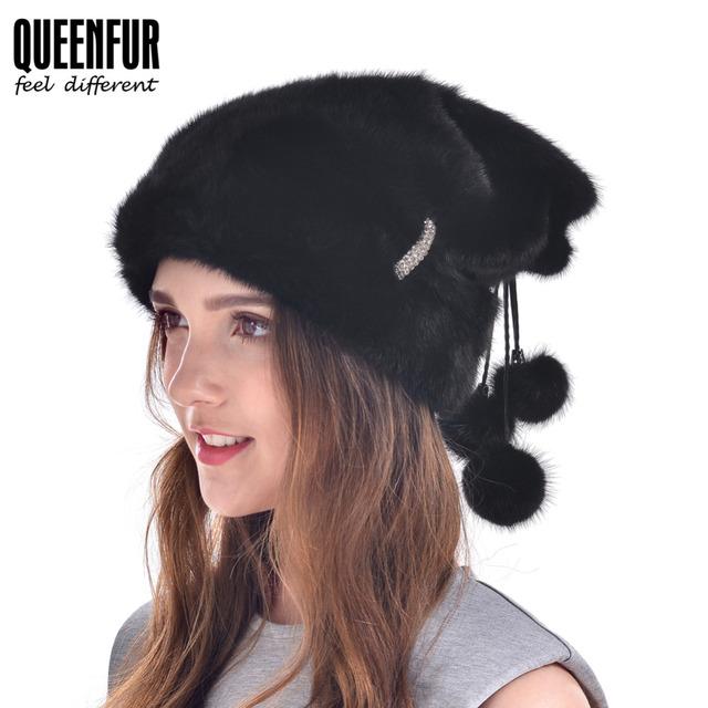 2016 Novo Russa Chapéu de Pele de Vison Para Mulheres Fur Real Mink Cap Com Pom Poms Pele Protetor Auricular Gorros De Pele De Luxo Boa qualidade