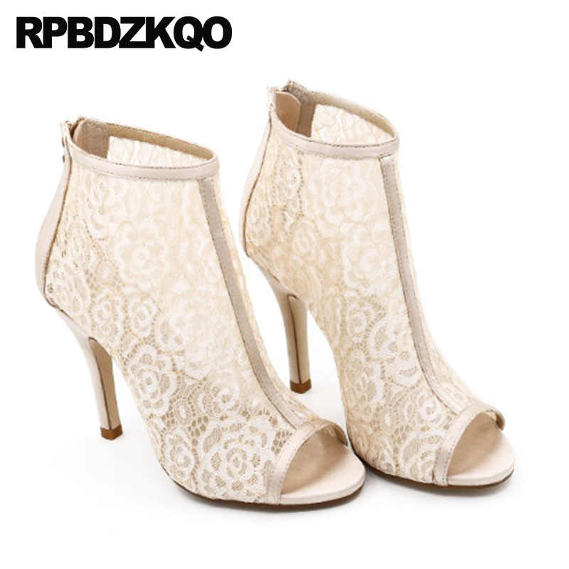 White Wedding Boots Ankle Mesh Summer