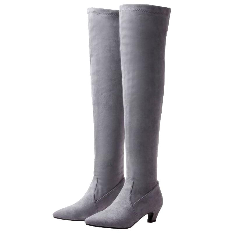Automne Avec Point Over Taille Mode the genou De Courte Bottes Femmes noir Sjjh Peluche Grande Flock A906 Beige Talons gris Casual Toe Chaussures Longues Bas aWzxCn