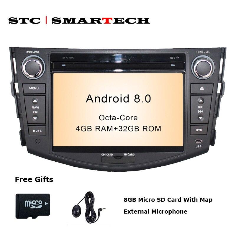 цена на SMARTECH 2 Din Android 8.0 OS Car DVD Player GPS Navigation Autoradio for TOYOTA RAV4 2006 -2012 Octa-Core 4GB RAM 32GB ROM